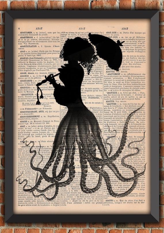 Victorian Octopus Lady Tentacles Jules Vernes Squid Ocean Sea Retro Vintage Art Print Home Decor Gift Poster Original Dictionary Page Print