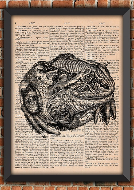 horned toad harry potter  Potion Dark Scary Witch Halloween Vintage Art Print Home Decor Gift Poster Original Dictionary Page french Print