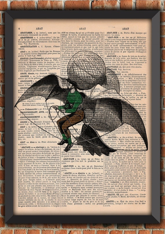 Steampunk flying machine Victorian era Man Flying Vintage Art Print Home Decor Gift Poster Original Authentique french dictionary Page