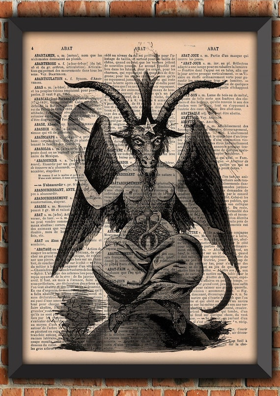 Satan Baphomet Spell Demons  Witch satanisme occulte Magic Vintage Art Print Home Decor Gift Poster Original french Dictionary Page Print