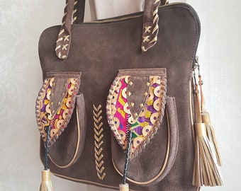 4cca2a242a Native American Tribe Vintage Suede Leather Messenger Tote Bag    Southwestern Bohemian Peru Mexican Guatemala Huipil Shoulder Purse Handbag