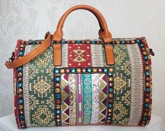 b200c86b1cdf Mayan Aztec Holdall Turkish Nomad Sequin Weekend Duffel Bag   Tribal  Southwestern Bohemian Navajo Boho Travel Canvas Shoulder Duffle Handbag