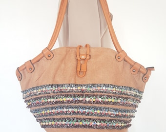 b40a356e6582 Southwestern Shoulder Tote Handbag   Bohemian Peru Aztec Mayan Boho Navajo  Gypsy Hippie Ethnic Native Tribal Navajo Tan Brown Hobo Bag