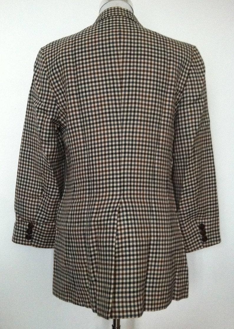 Vintage Womens DKNY Classic Plaid Tartan Check Long Blazer Jacket  Size 10 UK 12