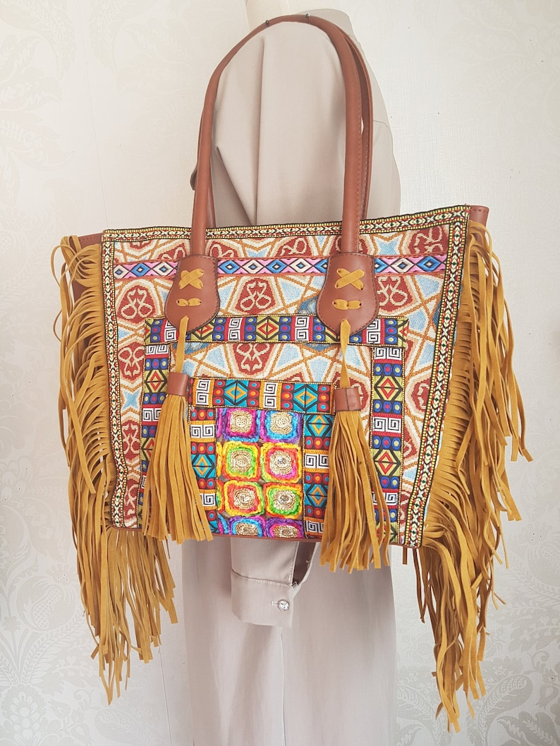 Vintage Canvas Ethnic Shoulder Bag Embroidery Hippie Tassel Tote Messenger Ba fh