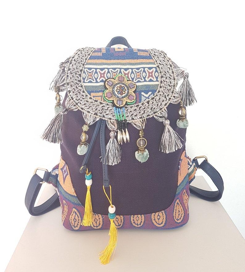 29c2828056d8e Southwestern Bohemian Navajo Mayan Purple Tassel Pom Canvas