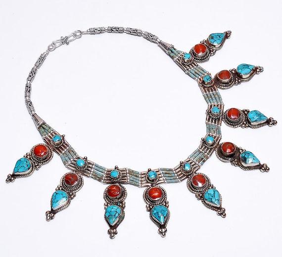Tibet Silver Lapis Lazuli Mosaic Bracelet  Native Bohemian Egypt African Ethnic Gypsy Tribal Nomad Turkish Indian Nepal Jewelry