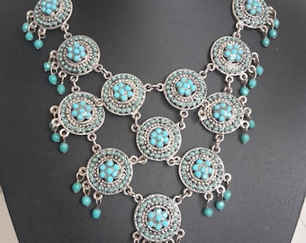 Turquoise Nepalese Tibet Himalayan Fashion Party Statement Necklace