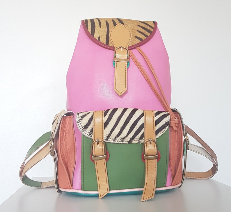 ffe0462850 Funky Tribal Pink Multicolored Leather Patchwork Backpack