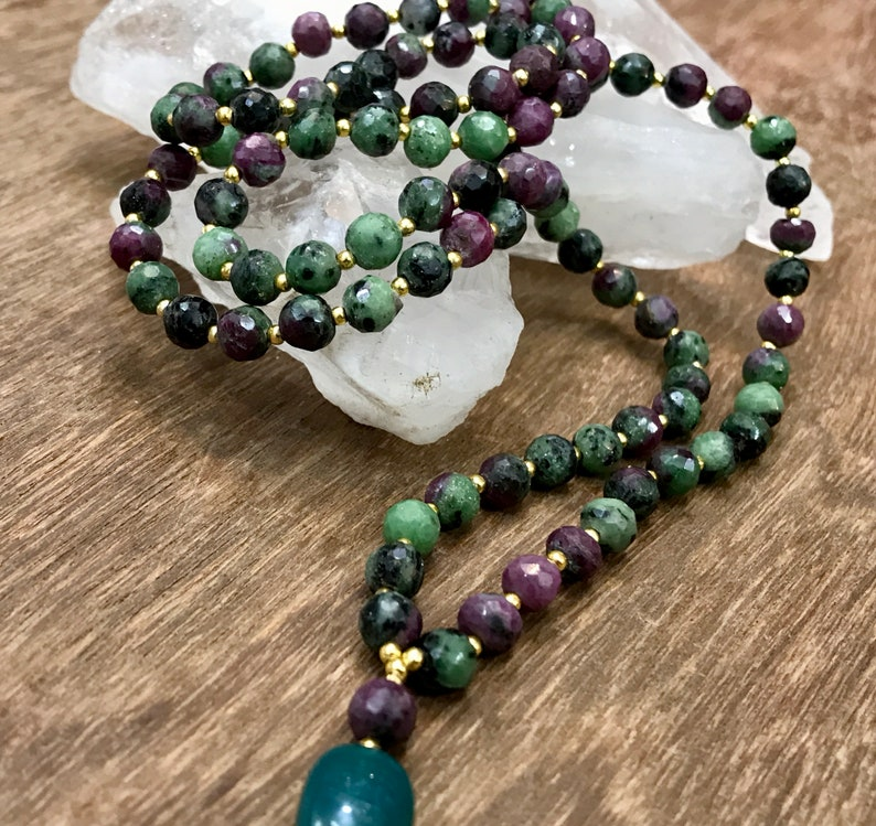 CONSCIOUSNESS /& SPIRITUALITY ruby in zoisite mala blessed mala beads japa 108 mala