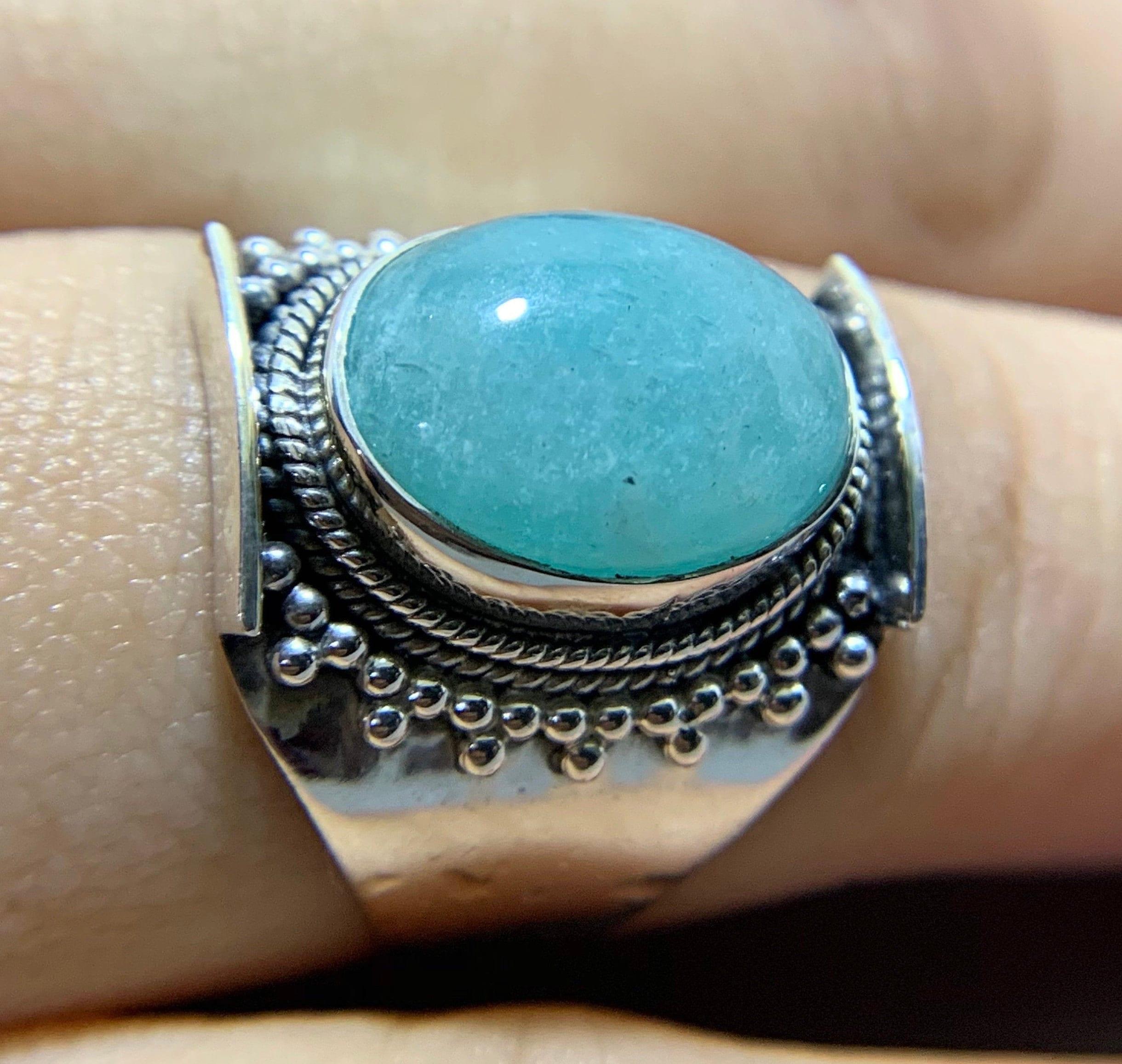 Statement Ring Natural Stone Ring 925 sterling silver ring,Women Ring Silver Amazonite Ring Handmade Ring Amazonite Ring
