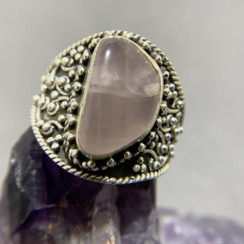 Natural Rose Quartz Ring  925 Sterling Silver Ring  Size US 4  Rose Quartz Oval Gemstone Ring  January Birthstone Ring  Gift For Her