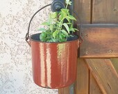 Antique French enameled metal pot