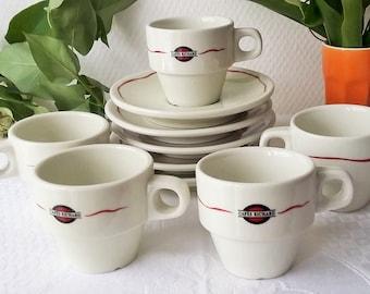 Barware  French Vintage Bistro - Set of 5 Espresso Mocha Coffee Cups + 5 Coffee Bar Ceramic Richard Coffee Cups