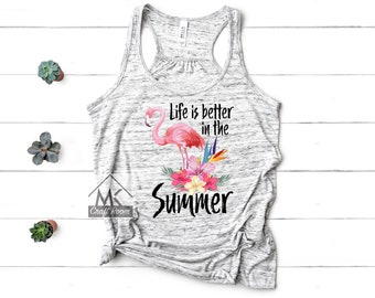 54da5991faf9f Life Is Better In The Summer Racerback Tank Top  Boho Flamingo Summer Tank  Top  Beachy Tank Top