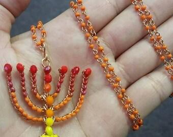 Red, Orange and Yellow Menorah