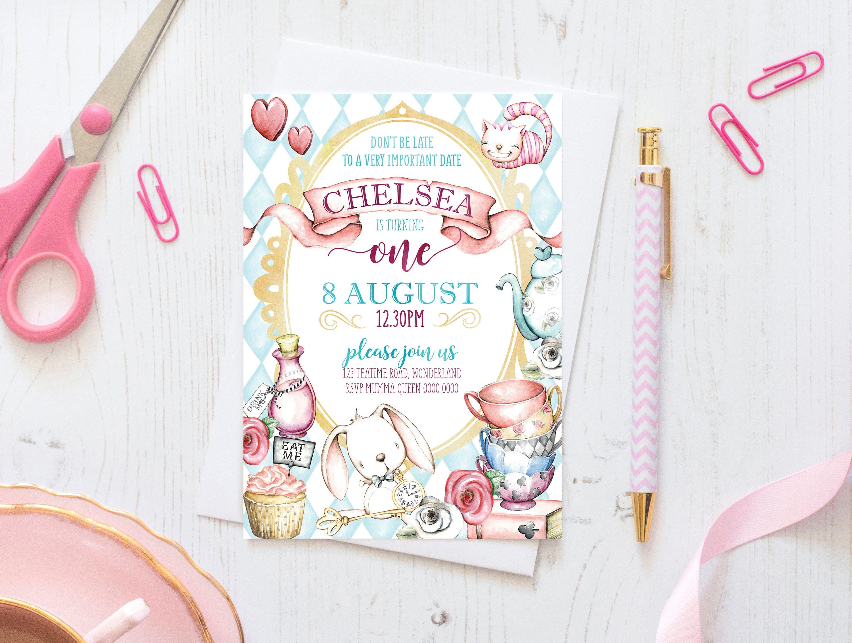 Wonderland Birthday Invitations Alice in Wonderland | Etsy