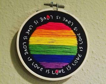Love is love, embroidery hoop