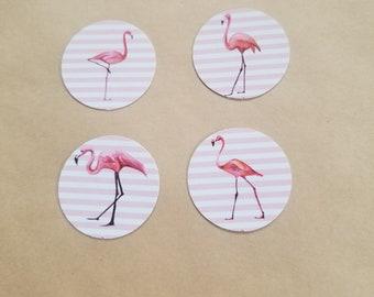 Striped flamingo stickers