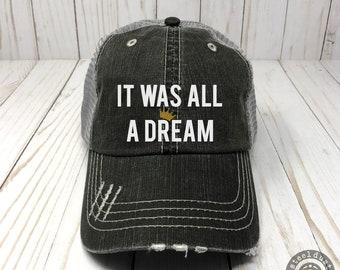 It Was All A Dream Trucker Hat 90s Hip Hop Rap Lyrics Baseball Cap Biggie  Smalls Notorious BIG 2acc43d5d374