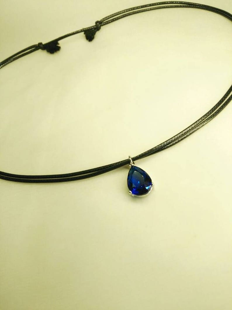 Wrapped Wire Gemstones Cobalt Blue Handmade Red White Gold Plated Green 925 Sterling Silver, Black Choker Black Zircons Necklace
