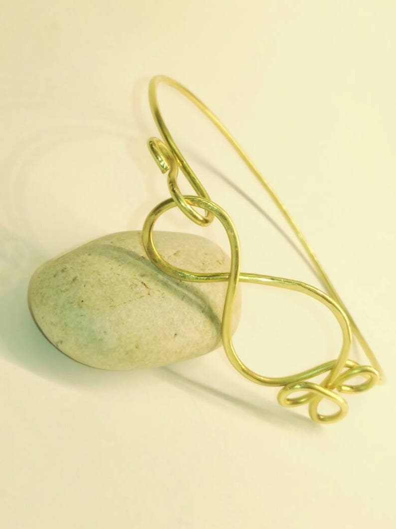 Hammered Stainless steel. Brass bracelet Hand made and Italy Craftwork Wire wrapped.Brass.Copper