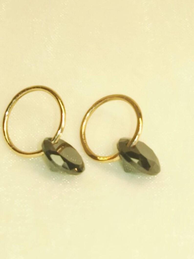 Wire. Blask Spinel 925 Sterling Silver Handmade Earrings 18k Yellow Gold Hoops Wrapped Wire Blask Spinel Hooks Studs
