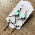 Mint Blue and Raw Brass and Drop Earrings | Minimalist Bar Earrings | Geometric Dangle Earrings | Mint and Gold Square Dangles Earrings