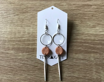 Glitter Rose Gold and Silver and Bar Drop Earrings | Minimalist Earrings | Geometric Drop Earrings | Simple Drop Earrings | Silver Earrings