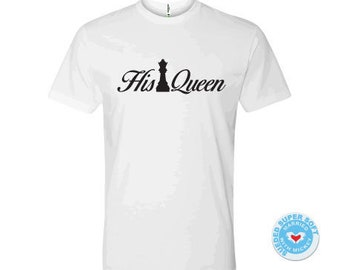 65623a68 T-shirt His Queen chess play pieces family tee for her women birthday girl  crown tanks game shirts cast show hearts wedding gift etsy 3XL