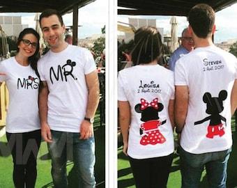 Disney world anniversary shirts Couple shirt Mr and Mrs Disneyland mickey minnie wedding matching couples sweatshirt plus sized etsy store D