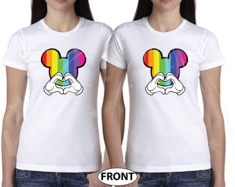 b453d933e LGBT Lesbian I'm Hers and She's Mine matching couple white t shirts Minnie  Mouse pointing hands rainbow Mickey head with Hands forming heart