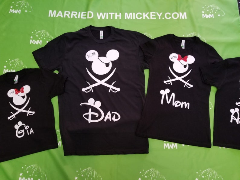Pirate family t shirts with mickey mouse and minnie mouse eye patch bows sword tshirts custom names mom dad son daughter grandma disney etsy