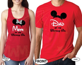 Dad and Mom Of Birthday Boy (Girl), Disney Matching Couple Shirts, Mommy Daddy Disney Family, Married With Mickey, 197