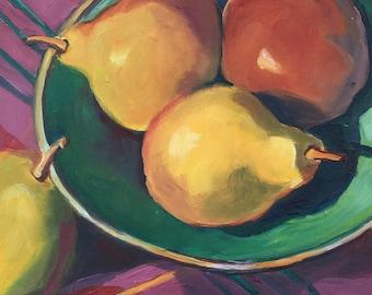Seckel Pears in a Green Bowl