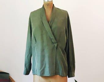 Vintage Green Rafaella Shawl Collar Blouse Silk Vintage Large Womens Retro