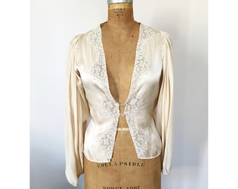 RESERVED FOR HADLEY // Vintage 20s Jazz Age Blouson Sleeve Silk and Lace Blouse, Handmade Glass Buttons Gatsby Art Deco Style Fashion