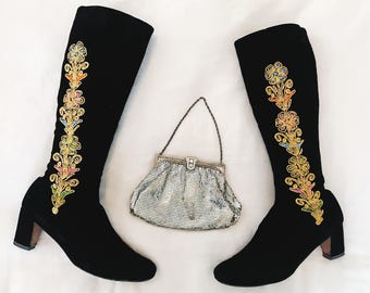 70s Vintage Embroidered Black Velvet Flower Child Boots Gold Multicolor Embroidery Knee High Tall Boots Fall Winter Hippie Boho Gypsy Size 7