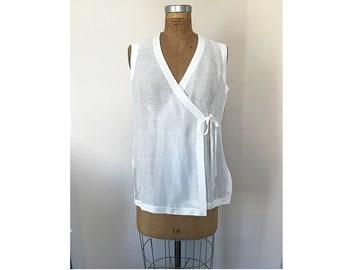 Vintage 90's Liz Claiborne Studio Cotton Linen Wrap Tunic Tank with Side Slits Women's Size Large V Neckline Minimal Style Blouse Beach