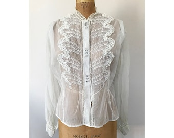 Vintage VICTORIAN 1800's Lace / Mesh Blouse with Original Glass Rhinestone Buttons Sheer Eggshell Color Top Romantic , Size Medium/Large