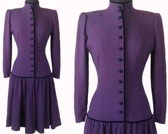 80's Vintage Ungaro Italian Made Long Sleeve Fitted Purple Dress, Women's Sz. 6, Goth Drop Waist Shank Buttons Designer Emanuel Ungaro