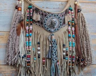 Tribal style native american boho fringe bag 6aef5b28da787