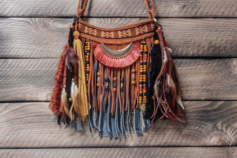 Small leather boho hippie fringe bag with tassels festival  f81d9d2fc8433