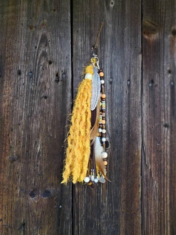 Jaune boho pompon, gland de hippie, long gland, pompon coloré, long porte-clé breloque, Pompon, gland de Boho de sac à main, de sac