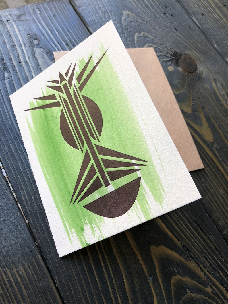 Mask on Mask off  Letterpress Greeting Card  African Art image 0