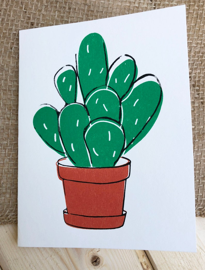 Cactus  Note Card  Plant lover greeting card image 0