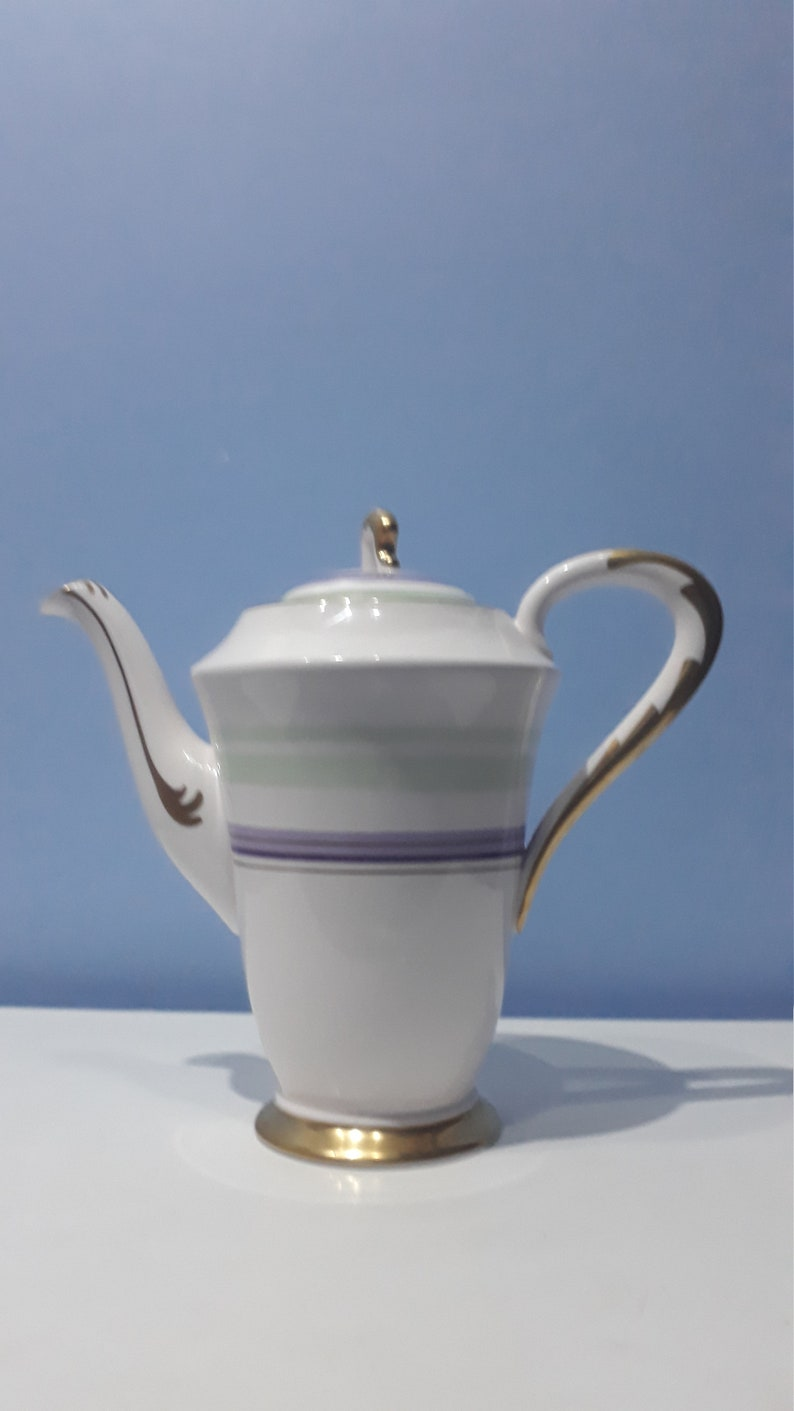 Made in England 1936-1947 Plant tuscan art deco mint Green and purple coffeeTeapot