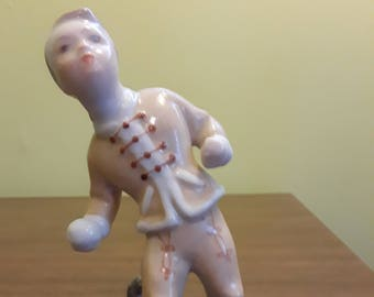 Herend Hungary Figurine Boy with Cat and Snowball Hand Painted Excellent Condition