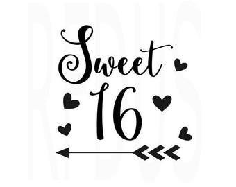 sweet 16 svg etsy