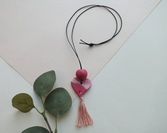 Raspberry and Light Pink Heart Necklace with Light Pink Tassel and Raspberry Bead